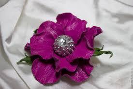 flower hair clip buy leather flowers brooch flower hair clip fuchsia on
