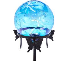 Glow In The Dark Gazing Ball Led Glass Gazing Ball With Metal Stand By Evergreen Page 1 U2014 Qvc Com