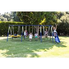 Backyard Swing Sets Canada Sportspower Outdoor Super 8 Fun Metal Swing And Slide Set