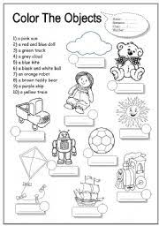 esl kids worksheets colour toys