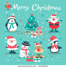 christmas card santa claus snowman tree stock vector 537969994