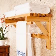 Hanging Bathroom Shelves Wood Hanging Bathroom Towel Shelves