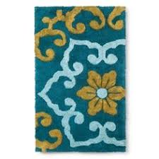 Flower Bath Rug Threshold Curvy Geo Bath Rug Turquoise 20x34 Decor