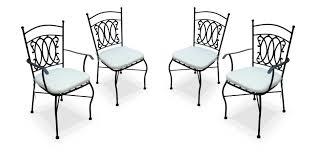 chaises en fer forgé ensemble de 2 chaises 2 fauteuils imitation fer forgé noires avec