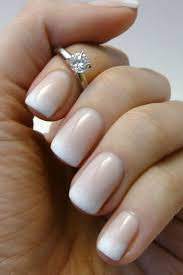elegant white to beige ombre nail art design idea for wedding
