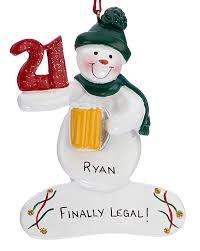 snowman with turning 21 personalized ornament