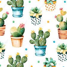 Succulent Plant Colorful Watercolor Texture With Cactus And Succulent Plant Plant