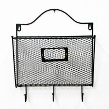 wall mount mail organizer letter office key holder rack metal