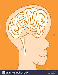 Meme Word - cartoon illustration of meme word branded in human brain or mind