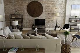 brick wall design withal stunning vintage living room brick wall