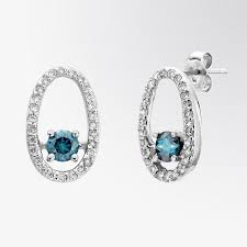 dimond drop fifth bond blue diamond and diamond drop earrings
