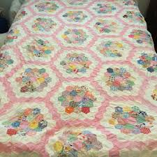 vintage quilt top 1920 to 1930s grandmothers flower garden