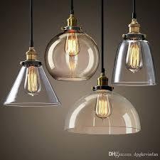 Pendant Lighting Vintage Set Glass Aluminum Pendant Lights Industrial Clear E27 28cm