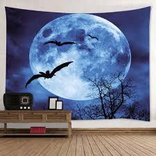 halloween wall art wall hanging art halloween moon bat print tapestry deep blue w