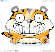 clipart graphic of a cartoon grinning saber toothed tiger