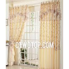 inexpensive printed chic yellow and romantic lace floral curtains