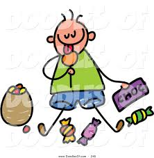 vector clipart of a childs sketch of a boy sitting eating candy by