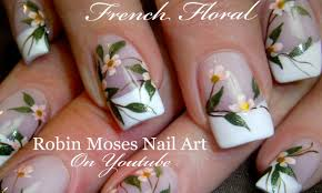 diy white flower nails wedding french tip nail art design
