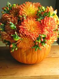 Fall Flowers For Wedding Autumn Flower Arrangement In A Pumpkin Vase Also Will Offer For