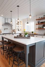 farmhouse island kitchen for the light fixtures farmhouse kitchen with shiplap plank
