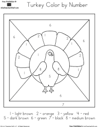 coloring pages turkey color by number printable worksheet free