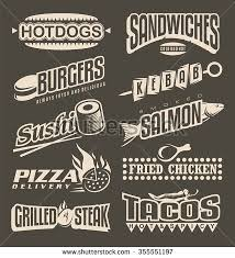 fast food menu labels collection retro design elements for