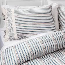 montgomery township striped duvet set blue and red beekman