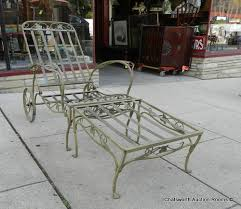 Wrought Iron Lounge Chair Patio Vintage 1940s Wrought Iron Salterini 2pc Reclining Lounge Chair W