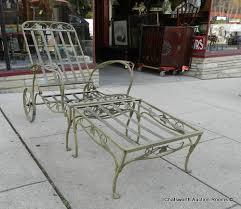 wrought iron patio ottoman vintage 1940s wrought iron salterini 2pc reclining lounge chair w