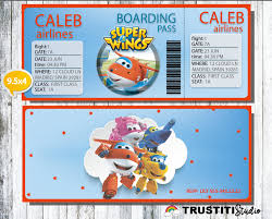 super wings invitation boarding pass invitation super wings