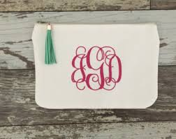bridal makeup bag monogram makeup bag etsy