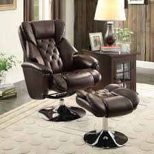 Swivel Recliner Chairs by Homelegance Aleron Swivel Reclining Chair W Ottoman In Dark Brown