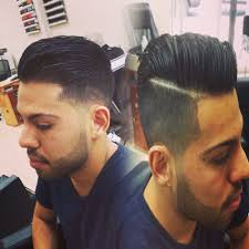 comb over with a line to part it tape up with a sharp shape up