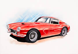 car ferrari drawing jake brown art ferrari 250 gt swb