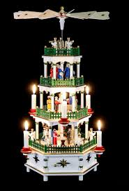4 tier pyramid nativity scene white with musical work 52 cm