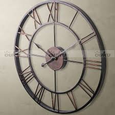 classic large metal wrought iron wall clock roman numeral