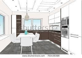 Kitchen Design Sketch House Interior Sketch 3d Illustration Stock Illustration 620127293