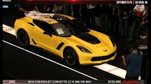 corvette auctions 2016 special edition c7 r z06 corvette 001 sells for 500 000 at