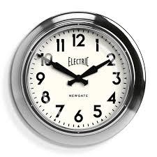 large retro station wall clock chrome newgate clocks electric
