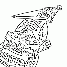 funny crow and happy birthday coloring page for kids holiday
