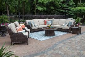 mila collection 9 piece all weather wicker patio furniture deep