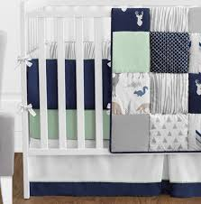 navy blue mint and grey woodsy deer baby bedding 9pc boys crib