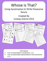 possessive nouns worksheet packet common core 2nd 3rd grade lessons