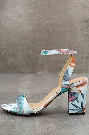 Light Blue High Heels Light Blue Print Heels Ankle Strap Heels Block Heels