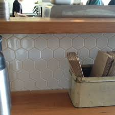 large white hexagonal tile backsplash home stuff pinterest