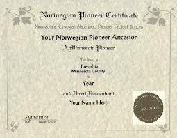 norwegian statehood pioneer project century certificates