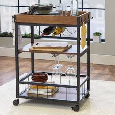 kitchen island brown wood kitchen tray cart black metal kitchen