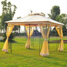 gazebo mosquito netting outsunny 3x3 m metal gazebo w mosquito net black ash frosted beige