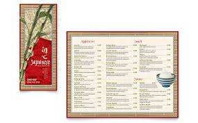 takeout menu template japanese restaurant take out brochure template word publisher