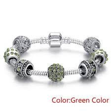 bracelet color crystal images Silver plated crystal bead charm bracelet diyosworld jpg